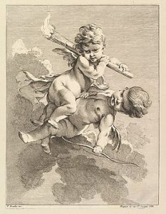 Two Cupids, One Carrying a Torch. . . etching/engraving by Pierre Alexandre Aveline, from the collection of NY's Metropolitan Museum of Art